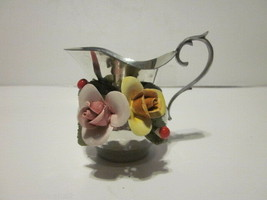 VINTAGE 95% PEWTER & PORCELAIN APPLIED ROSES MILK CREAMER - $9.99