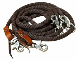 ENGLISH OR WESERN SADDLE HORSE BRAIDED BROWN NYLON DRAW REINS FOR TRAINI... - $19.80