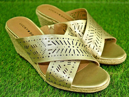 Women's Lucky Brand Keela Espadrilles Wedge Sandals Gold Metallic Leather 7.5 W - $29.69