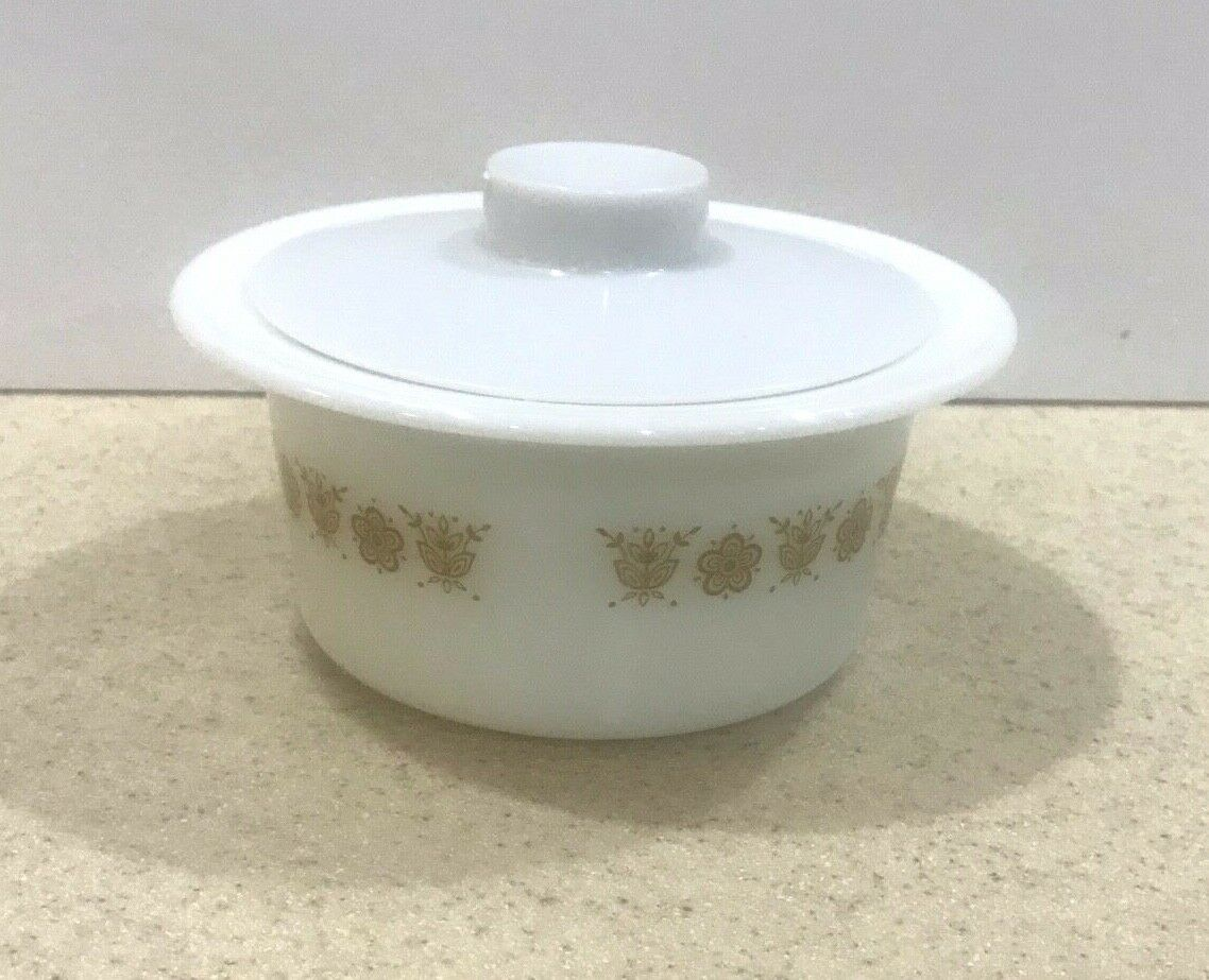 Vintage Pyrex/Corning Ware Butter Tub/Bowl & Cover Butterfly Gold #75