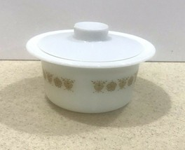 Vintage Pyrex/Corning Ware Butter Tub/Bowl & Cover Butterfly Gold #75 - $11.75