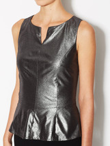 New Eldora top, foil coated faux leather, size S - $28.71
