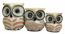 Balinese Wood Handicrafts Golden Night Forest Owl Family Set of 3 Figurines - $21.99