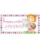 Baby Girls Easter Basket Sticker, Waterproof and Personalized - $3.25+
