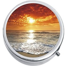 Orange Sunset Beach Medicine Vitamin Compact Pill Box - $9.78