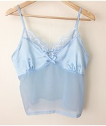 Vintage Lingerie Camisole Sheer Light Blue Size Small Collections Etc. Lace - $24.74