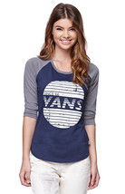 WOMEN'S JRS VANS SUNSET RAYS  RAGLAN BASEBALL CALIFORNIA TEE T SHIRT NEW... - $18.99