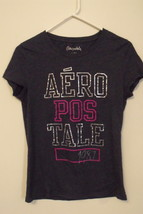 Womens Aeropostale Charcoal Gray Cap Sleeve T Shirt Size L - $9.95