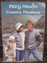 Mary Maxim Country Heathers Knit Knitting Patterns Sweaters Cardigans Hat FAMILY - $7.95