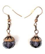 Copper Fish Hook Earrings with Deep Purple Bead Dangle - $8.00