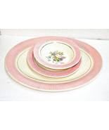 Pink Border SALEM VICTORY CHINA 9 Pieces  Platter 4 Bread Plates 4 Sauce... - $20.00