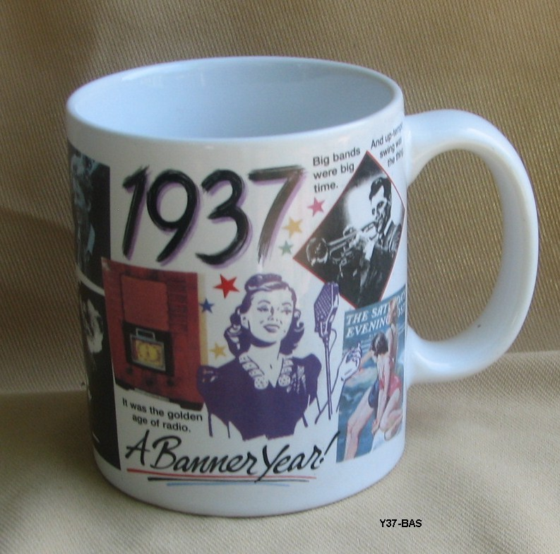 1937 A Banner Year Coffee Mug ....Celebrate 77 years of Living