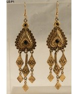 "Gold Tone Metal 3"" x 1"" Chandelier Drop Dangle Earrings Pierced Ears - $14.99"