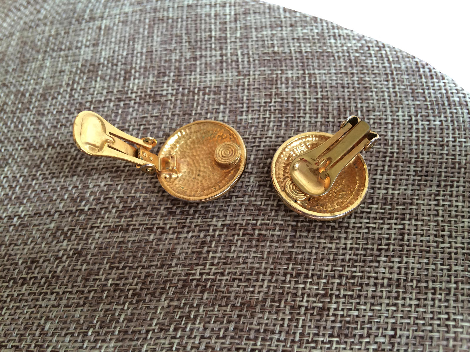 Vintage Golden Anchor Rope & Wreath Nautical Button Clip On, summer jewelry, bea