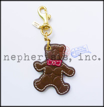 RARE NWOT Coach Japan Signature BEAR Brown Key Ring Fob or Bag Charm - $135.00