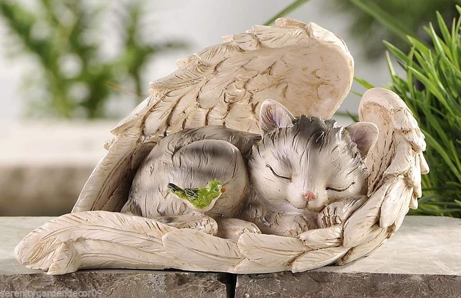 Cat Sleeping Wrapped in Angel Wings Garden Statue Polystone NEW