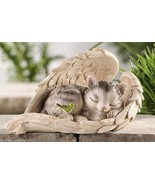 Cat Sleeping Wrapped in Angel Wings Garden Statue Polystone NEW - $37.04