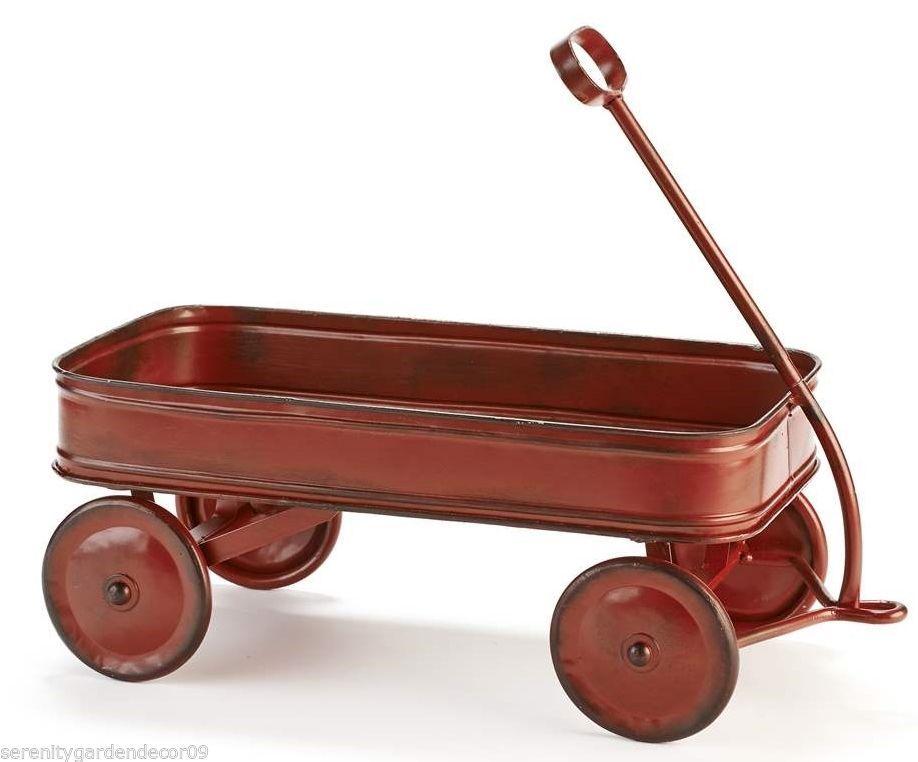 "15.9"" Nostalgic Metal Red Wagon Table Decor Rustic Finish NEW"