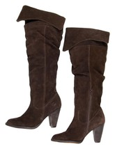 Jeffrey Campbell Brown Suede Knee High Slouchy Fold Over Boots Size 9 - $103.95