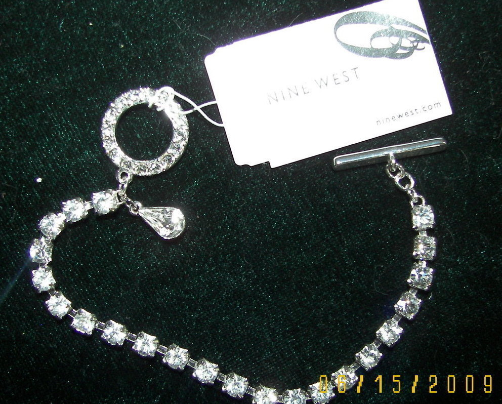 Nine West  Rhinestone Silver Toggle Bracelet Bonanza