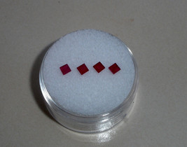 4 Ruby Square loose gems 2.5mm each - $19.99