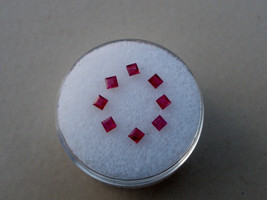 8 Ruby Square loose gems 2.2mm each - $24.99