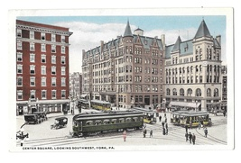 York PA Center Square Looking Southwest Trolley Cars Vintage Postcard - $6.69