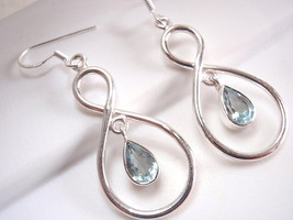 Cut Blue Topaz Dangle Earrings Sterling Silver Infinity Hoop Everlasting... - $22.05