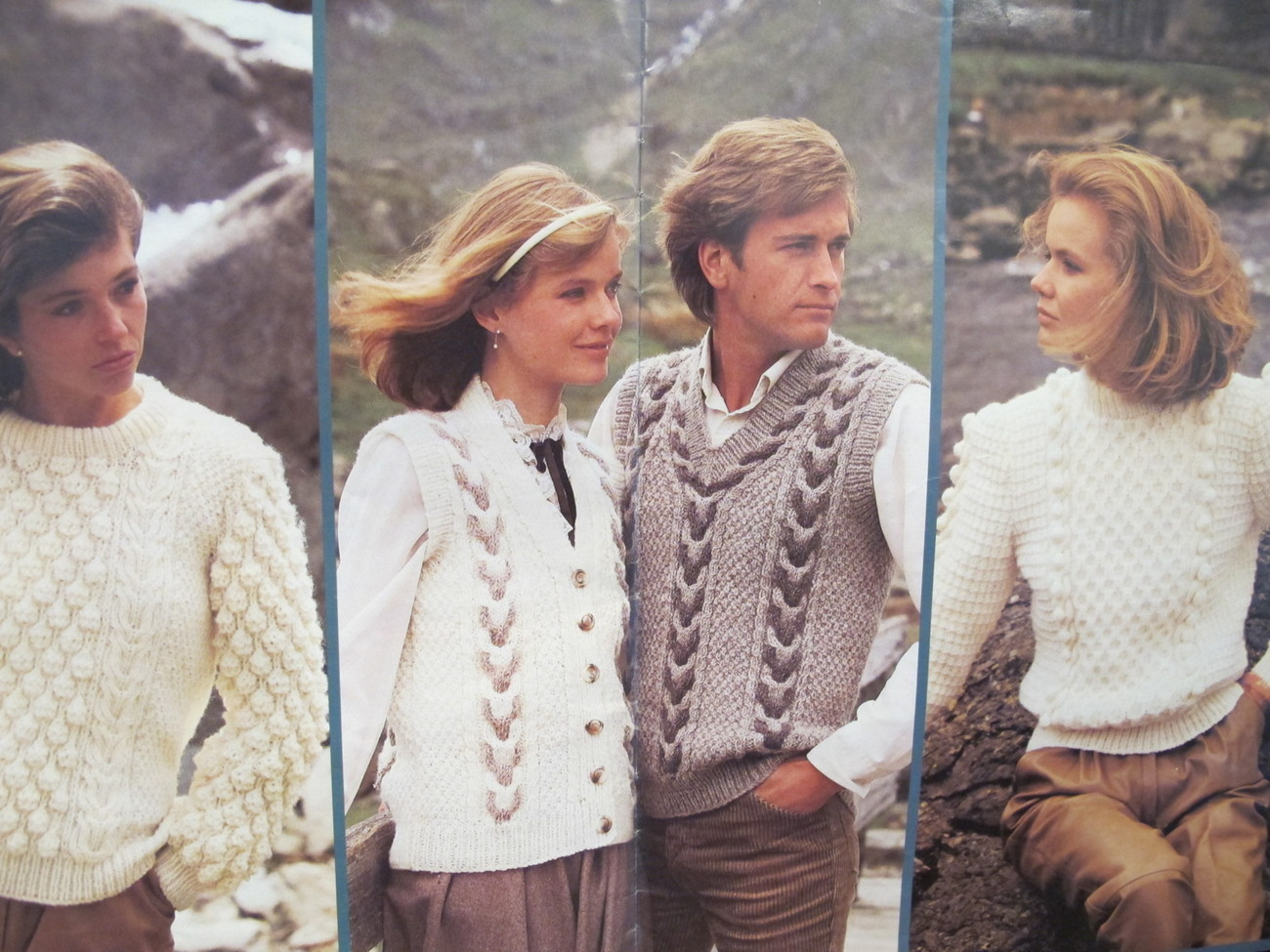 Mary Maxim Country Heathers Knit Knitting Patterns Sweaters Cardigans Hat FAMILY