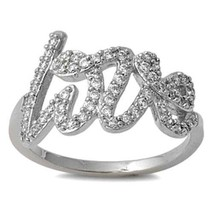Sterling Silver ring size 7 CZ Love Script Cursive Word Ladies Band New 925 v58 - $19.33