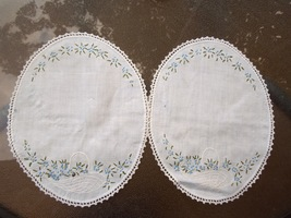 Set of 2 Antique Doilies-Flowers and Basket Embroidered 10 1/2 x 7 1/2 Oval#1782 - $7.29