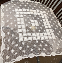 """Antique Tablecloth / Overerlay for a Small Table - Hand Made - 31"""" Square  #1810 - $18.99"""