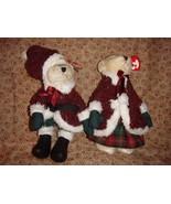 Ty Attic Treasures 2000 Mr & Mrs Santabear For Christmas - $14.99