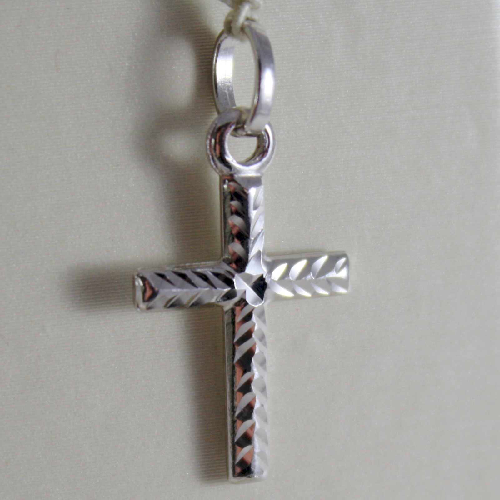 SOLID 18K WHITE GOLD CROSS, TUBE DOUBLE TWO FACES, HAMMERED, SHINY, MADE IN ITAL