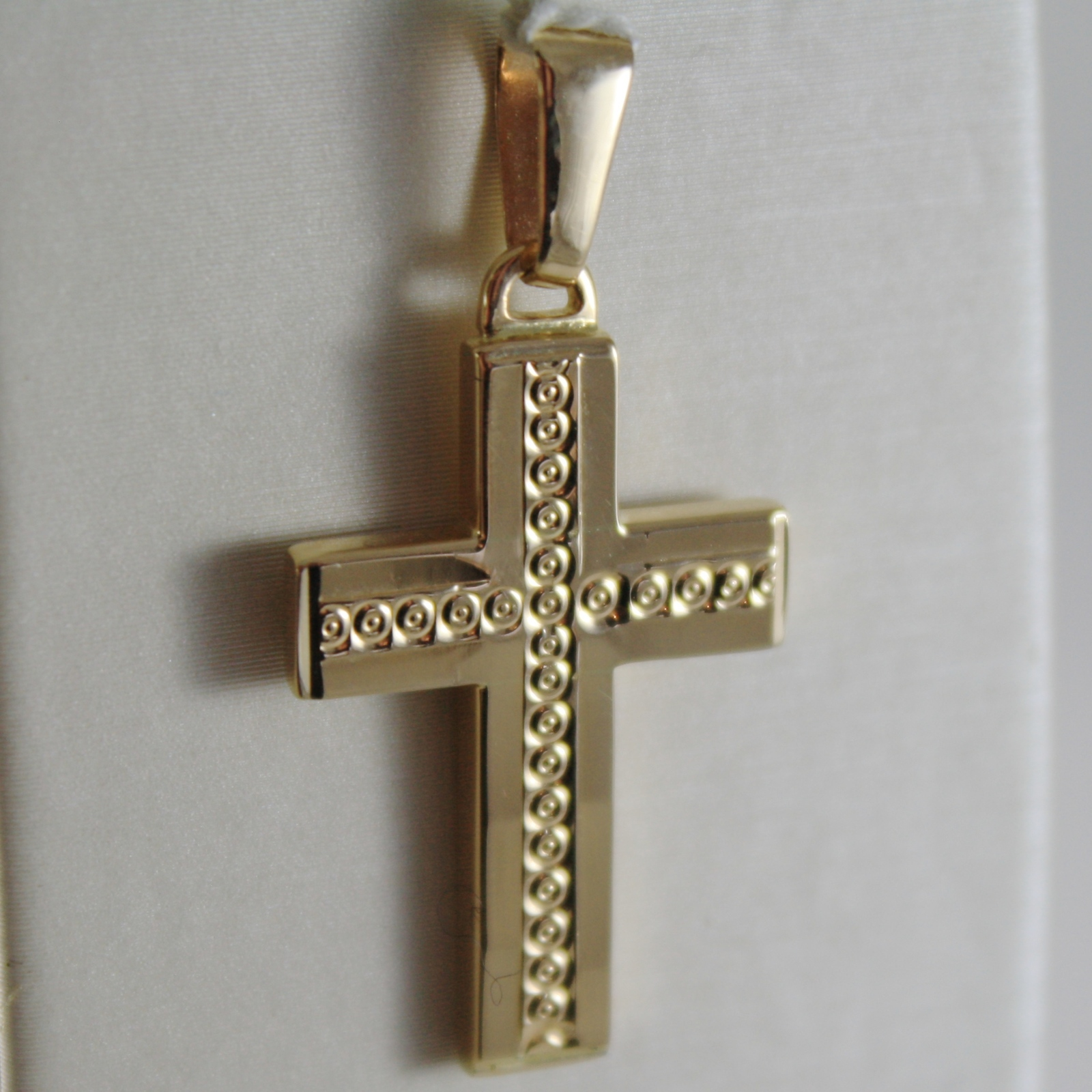 SOLID 18K YELLOW GOLD CROSS, SQUARED, DOUBLE TWO FACES, CIRCLES, MADE IN ITALY