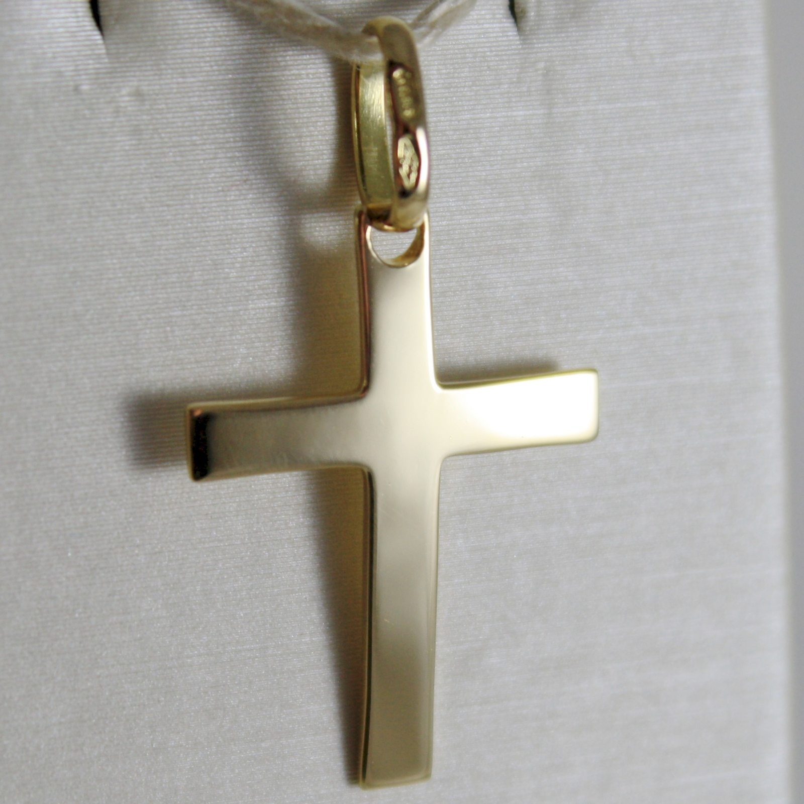 SOLID 18K YELLOW GOLD FLAT CROSS SQUARED ARCHED, SMOOTH, LUMINOUS, MADE IN ITALY