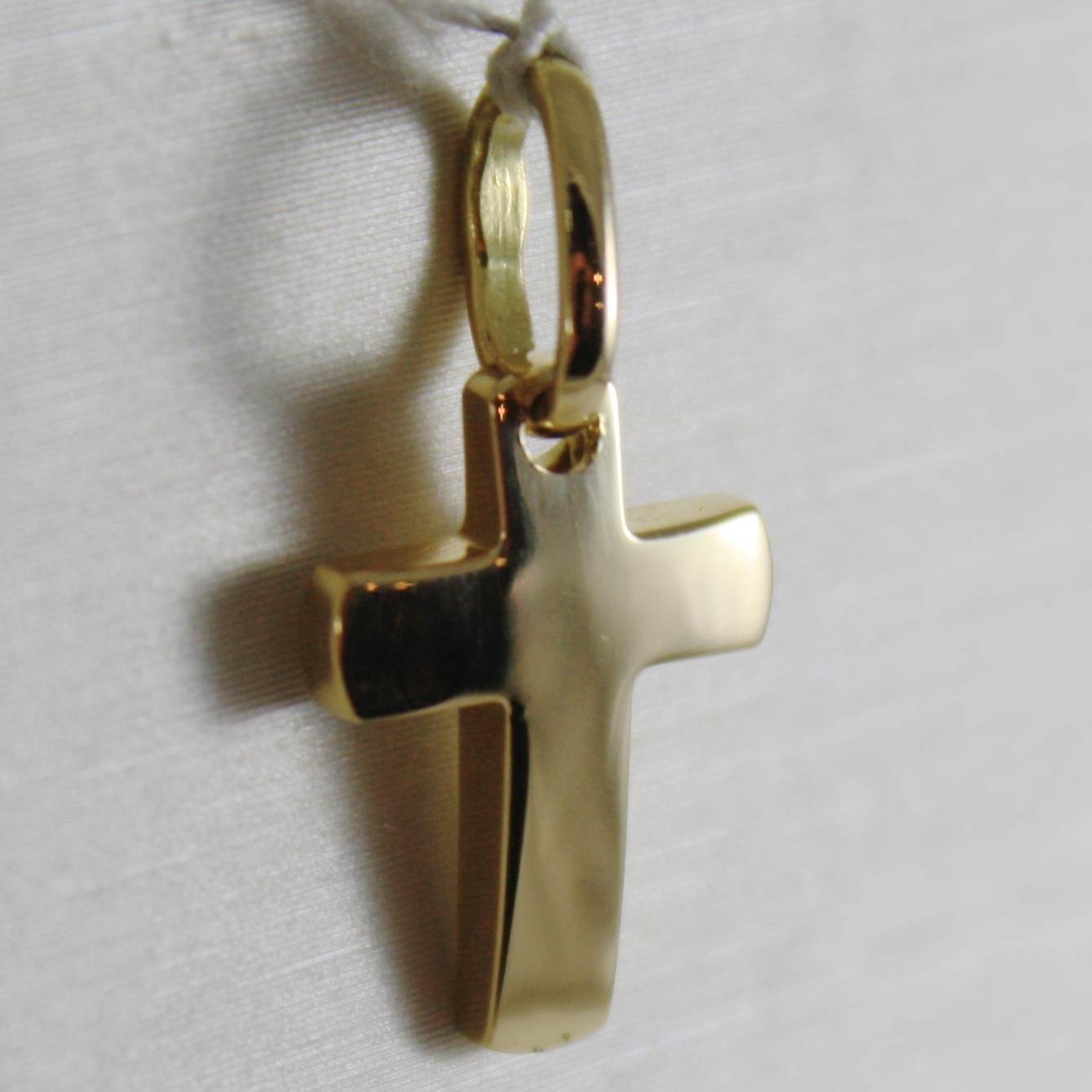 SOLID 18K YELLOW GOLD MINI CROSS SQUARED ARCHED, SMOOTH, LUMINOUS, MADE IN ITALY