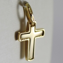 SOLID 18K YELLOW GOLD MINI CROSS SQUARED ARCHED, SMOOTH, LUMINOUS, MADE IN ITALY image 3
