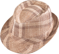 Henschel Paper Straw Stingy Brim Fedora Low Crown Plaid Pattern Brown Tan - £27.48 GBP