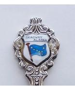 Collector Souvenir Spoon USA Alaska Skagway Flag Porcelain Emblem - $14.99
