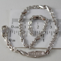 MASSIVE SOLID 18K WHITE GOLD BRACELET INFINITE BONE MESH, KARISMA MADE IN ITALY