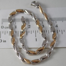 SOLID 18K WHITE AND ROSE GOLD BRACELET WITH OVAL WAVE MESH, MADE IN ITALY