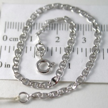 SOLID 18K WHITE GOLD BRACELET WITH FLAT OVAL HAMMERED MESH, MADE IN ITALY image 1