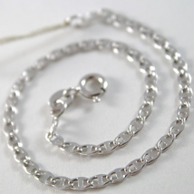 SOLID 18K WHITE GOLD BRACELET WITH FLAT OVAL HAMMERED MESH, MADE IN ITALY image 2