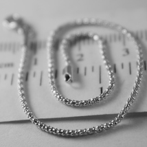 SOLID 18K WHITE GOLD BRACELET, MINI BASKET ROUND MESH, 1MM WIDTH, MADE IN ITALY image 2