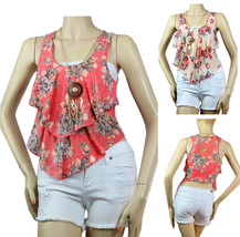 Floral Print Sleeveless Ruffle LAYERING Blouse w/ Necklace Casual Crop T... - $19.99
