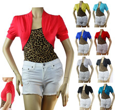 9 Color Basic CROP Ruched Short Sleeve BOLERO Stretch Cotton Casual Card... - $5.99+