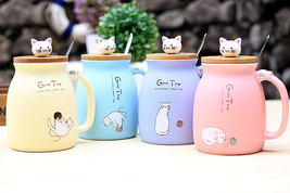 Sesame Cat Heat Resistant Cup Color Cartoon With Lid Kitten Coffee Milk ... - $18.99