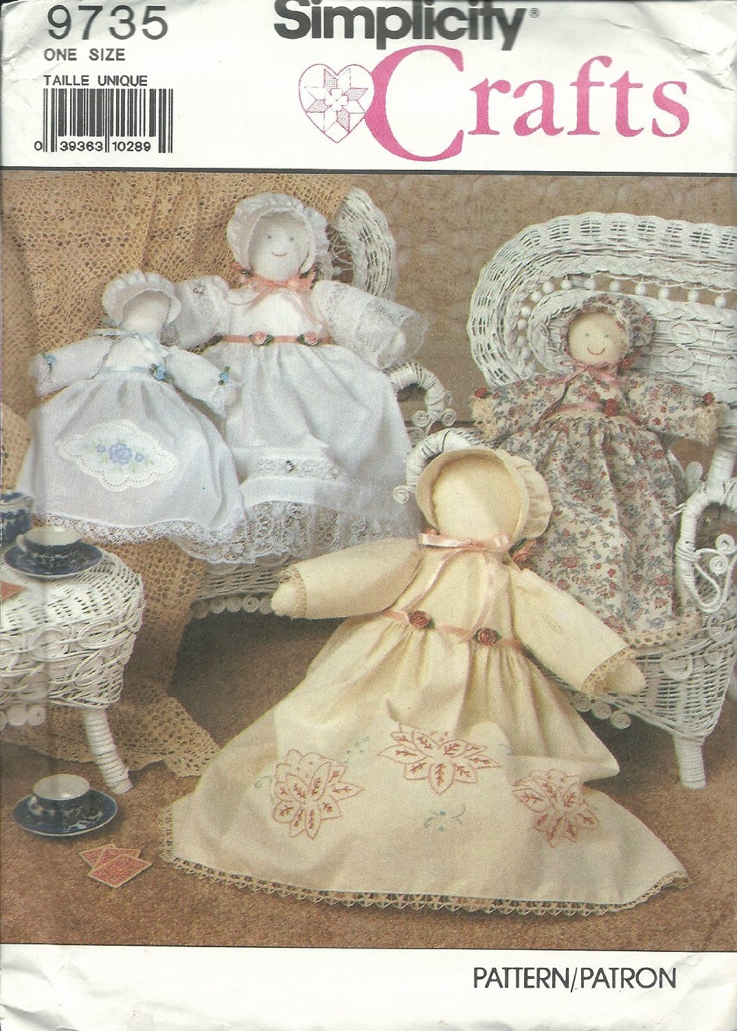 "Simplicity 9735 Heirloom Doll & Clothes Size 18"" & 12"" Rag Dolls Sewing Pattern"