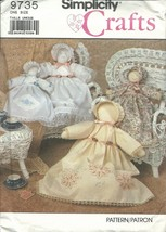 "Simplicity 9735 Heirloom Doll & Clothes Size 18"" & 12"" Rag Dolls Sewing Pattern - $9.95"